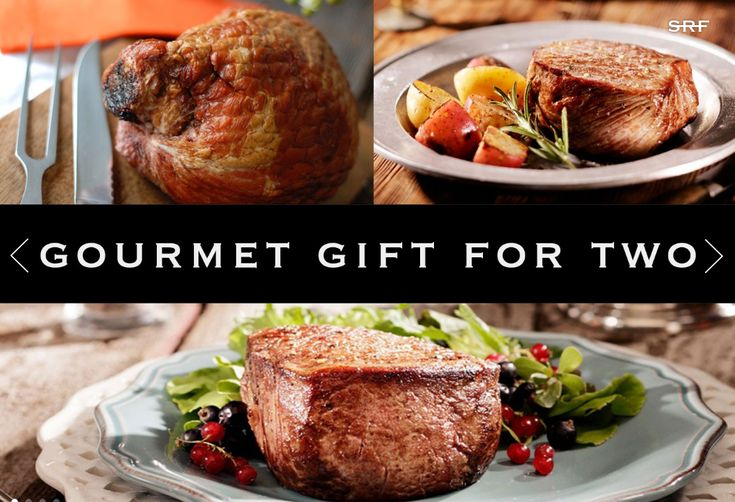 The Gourmet Gift for Two includes one Kurobuta Ham Mini Karver, two Northwest Beef Filet Mignon steaks, two Northwest Beef RIbeye steaks, and our SRF thermal bag