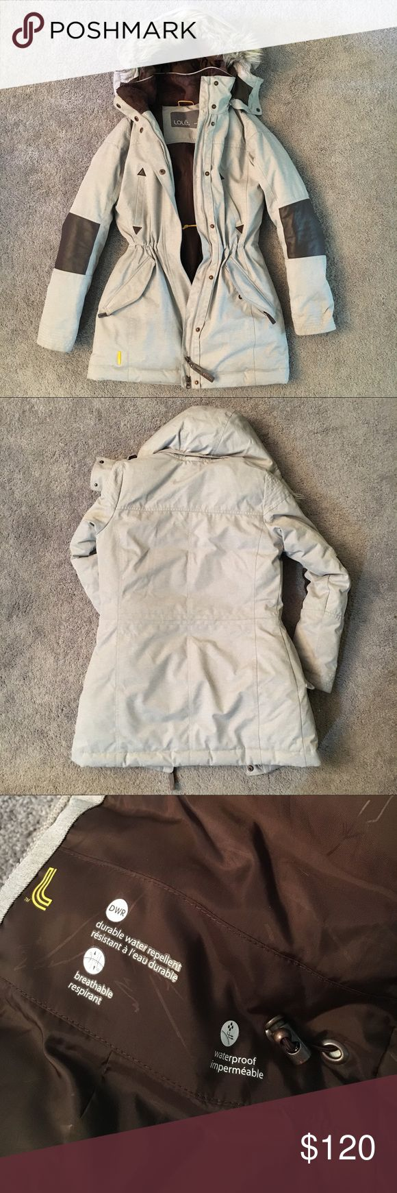 LOLE Down Winter Coat w/ Fur Trim Hood, XS Excellent, barely worn condition with a flattering fit and so many impressive details!  Made of extremely durable materials; Waterproof & water repellent; 60% duck 40% feather; Double direction front zipper + snaps; Warm, fabric-lined pockets 2 w/ zip + snap, 2 open chest pockets and 1 interior w/ zip; Detachable hood w/ detachable fur trim; Inner waistline cinch; Leather-like Dk brown elbow patches... Really so very cute, please ask questions, I…
