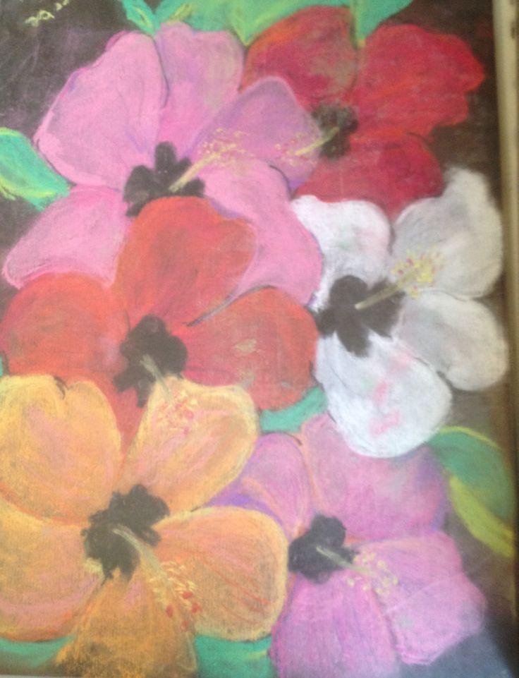 Pastel pencils . Flowers