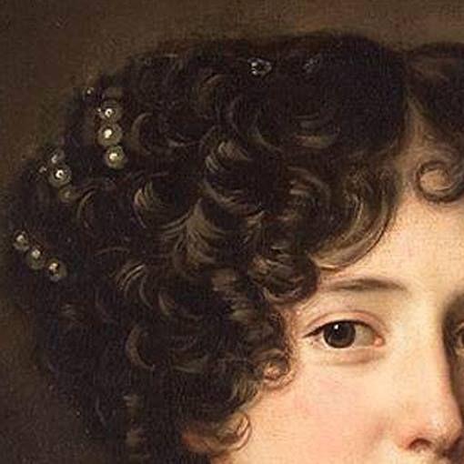 Jacob-Ferdinand Voet: Maria Mancini. Olio su tela del 1660-75. Rijksmuseum, Amsterdam. E' stata, assieme ad altre due sorelle, amante per parecchi anni di Luigi XV re di Francia. Molto bella l'acconciatura di folti e corti ricci con decorazione di perle a gruppi di tre: era la più giovane delle nipoti del cardinale Mazzarino, consigliere del re, che provvide ad accontentarlo anche infilandogli nel letto regale le sue nipoti, una dietro l'altra e chissà, anche insieme?
