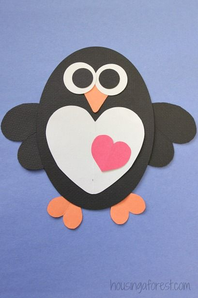Create loveable paper penguins with your kids for Valentine's Day! Creatively assembled, these penguins are sure to warm anyone's heart, and they make for perfect art to hang on display in your home. Click in for the complete tutorial, courtesy of Housing A Forest.