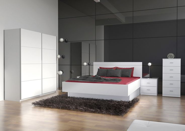 Dormitorio matrimonio Joa Sixti compuesto de :  1 armario puertas correderas de :180x60x220cms2 mesitas:45x35x46.2cms 1 Cabezal para cama :159x2,5x50.3cms 2 cajones acoplables a cama:70x141.4x18.8cms 1 cama bañera acoplable a cabezal:157.2x206.3x47cms 1 sinfonier:45x35x102.5cms Color disponible blanco Fabricado en aglomerado melaminizado   Se sirve en Kit de muy fácil montaje con instrucciones claras
