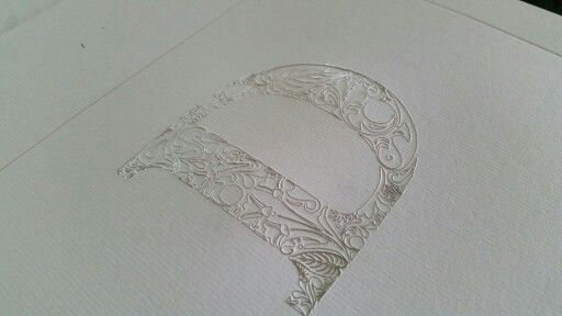 Monogram / Foil blocked in silver & embossed / Christening invitation