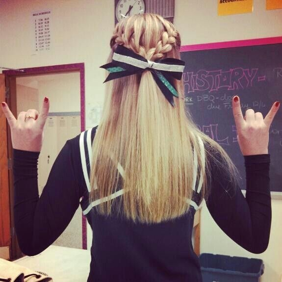 Cheer hair. French braids to bow.