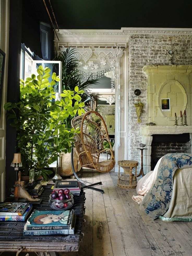 European Style Meets Bohemian Chic in a London Apartment - old world, romantic, fireplace, plants, Great Expectations inspired