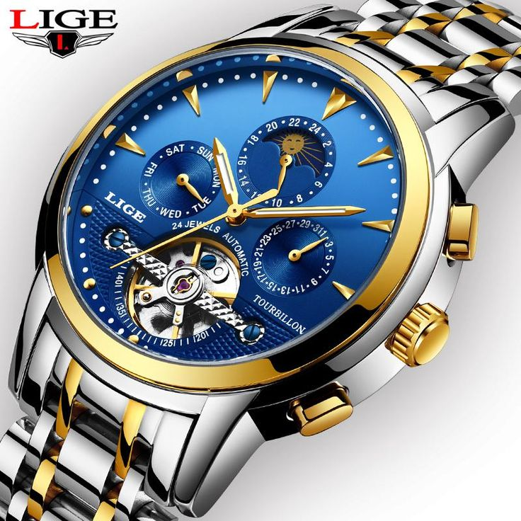 New <b>Mens</b> Watches LIGE Business Fashion <b>Automatic</b> Mechanical ...