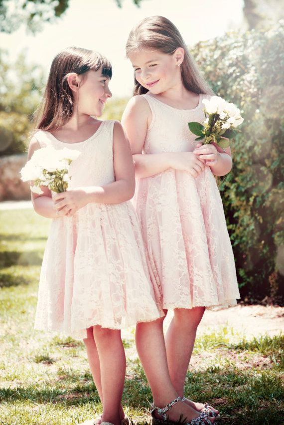 Blush lace flower girl dress flower girl dress v back for Lace flower wedding dress