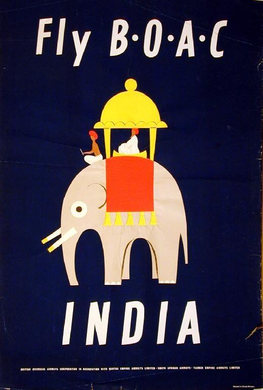 Fly BOAC - India, Aldo Cosomati 1953: Flying Boac, Picture-Black Posters, Aldocosomati, Aldo Cosomati, Art Prints, India Travel, Cosomati 1953, Posters Vintage, Vintage Travel Posters