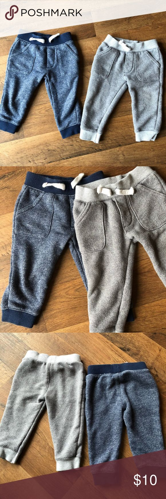 Baby Joggers 2 pair of baby boy joggers. 12 months. One gray & one navy. Have been worn but still good condition. Carter's Bottoms Sweatpants & Joggers #carterbabyboy