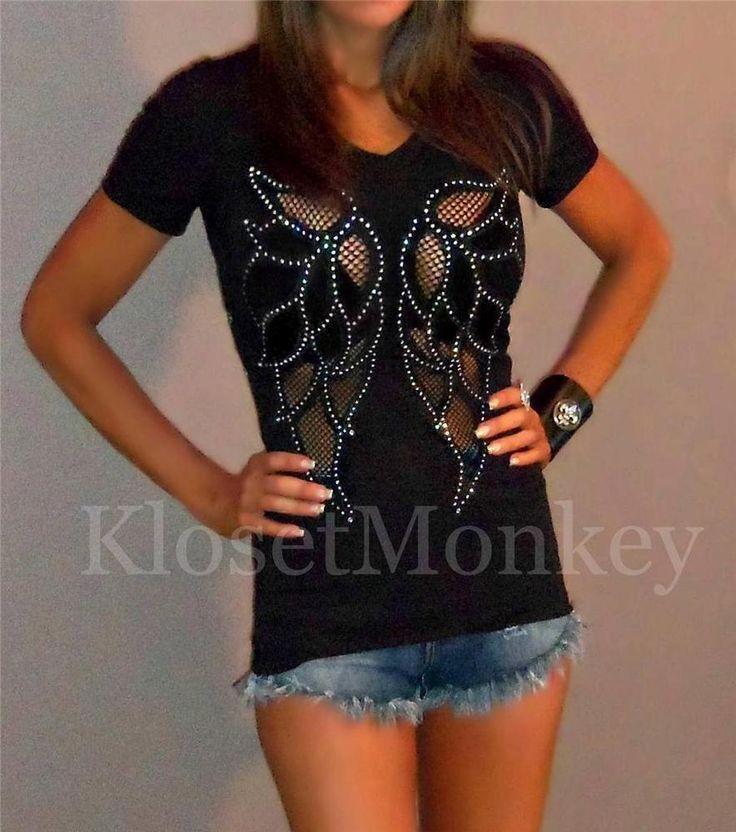 SEXY BLACK ANGEL WINGS SHEER NET RHINESTONE STRETCH TEE TOP BIKER RIDER MEDIUM M #KlosetMonkey #KnitTopTee #Versatile