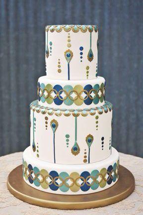 Торт в стиле арт-деко в бирюзовых тонах
