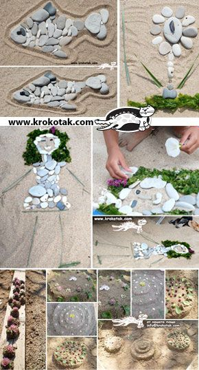 "SAND ART / Art de sable. I love the outline and then using natural materials to ""fill it in."""