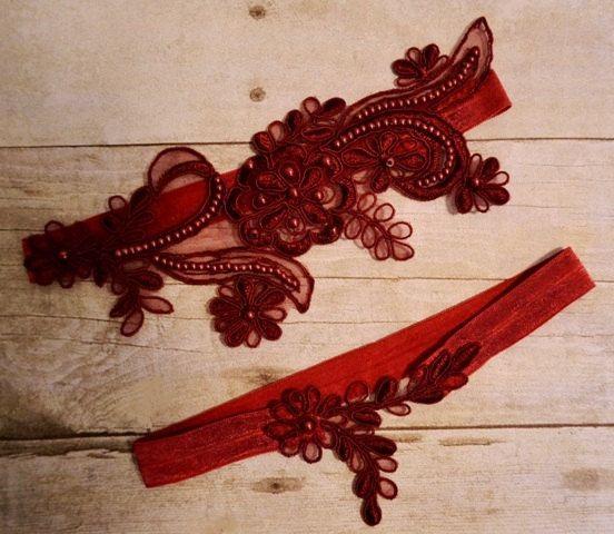 Dark Red Wine Lace Wedding Garter, Wedding Garter Set, Dark Red Wine Beaded Lace…
