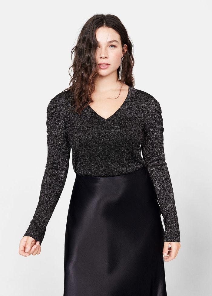 Mango Puffed Sleeves Lurex Sweater   Lurex sweater, Model