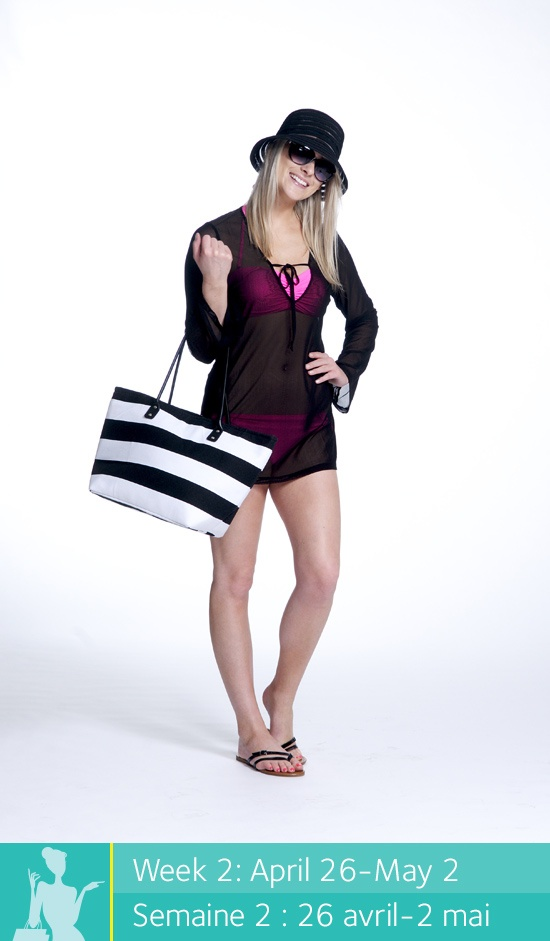 Enter to win a $500 shopping spree at Place d'Orléans at www.facebook.com/placedorleans #pdopinupgirls @Tonya Place d'Orleans @_La_Vie_en_Rose. Get this look at La vie en Rose! Bikini top and bottom, cover up, beach bag, hat, sunglasses and sandals.