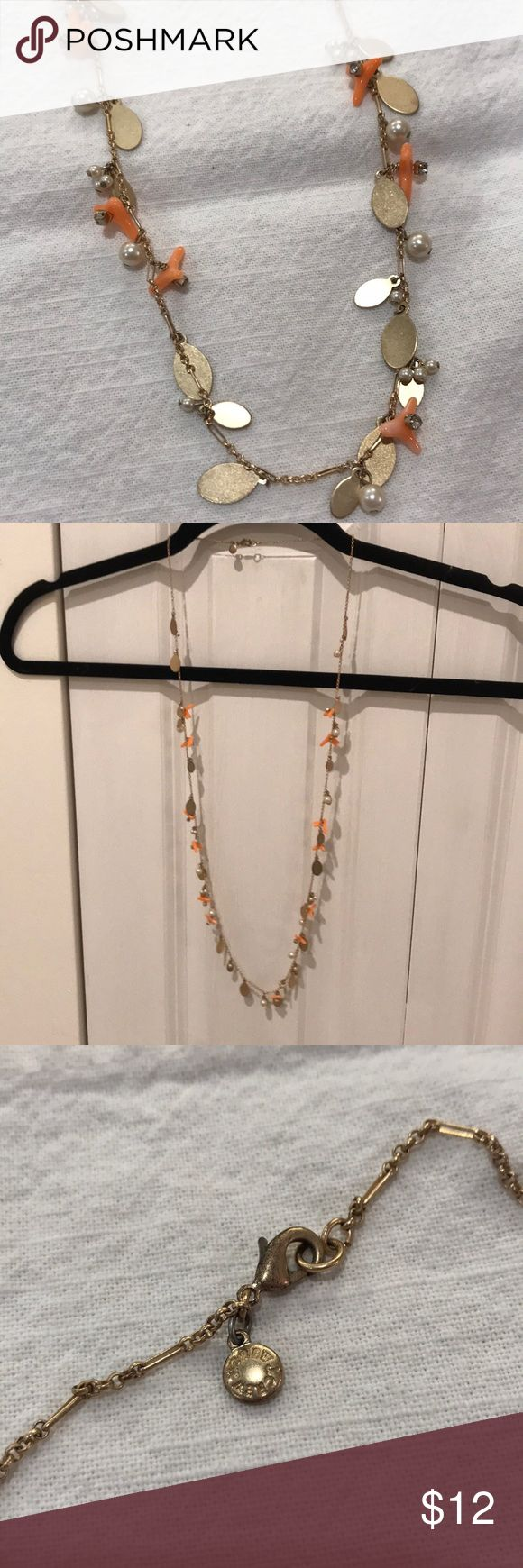 """J. Crew coral statement necklace J. Crew metal statement necklace. 36"""" long. No missing beads, no chips, with bits of coral throughout. Clasp shows minimal wear. J. Crew Jewelry Necklaces"""