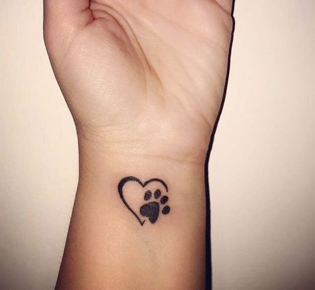 25 Best Dog Paw Print Tattoos On Wrist With Images Pawprint