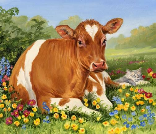 Linda Picken Art Studio / Cow Lying Down with Cat.jpg