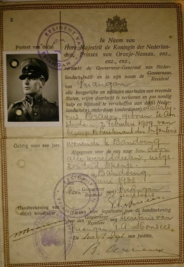 Military passport officer Dutch Indies Army, M. Braun (Indië 1938)