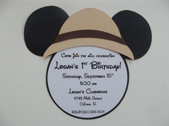 Safari Mickey Mouse Inspired Invitations by whimsycreationsbyann, $22.49