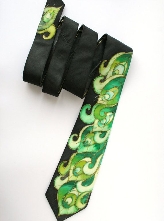 Peacock feathers Necktie Peacock Wedding I handpainted this peacock silk tie in deep, rich, stunning colors of peacock greens and black. It is truly
