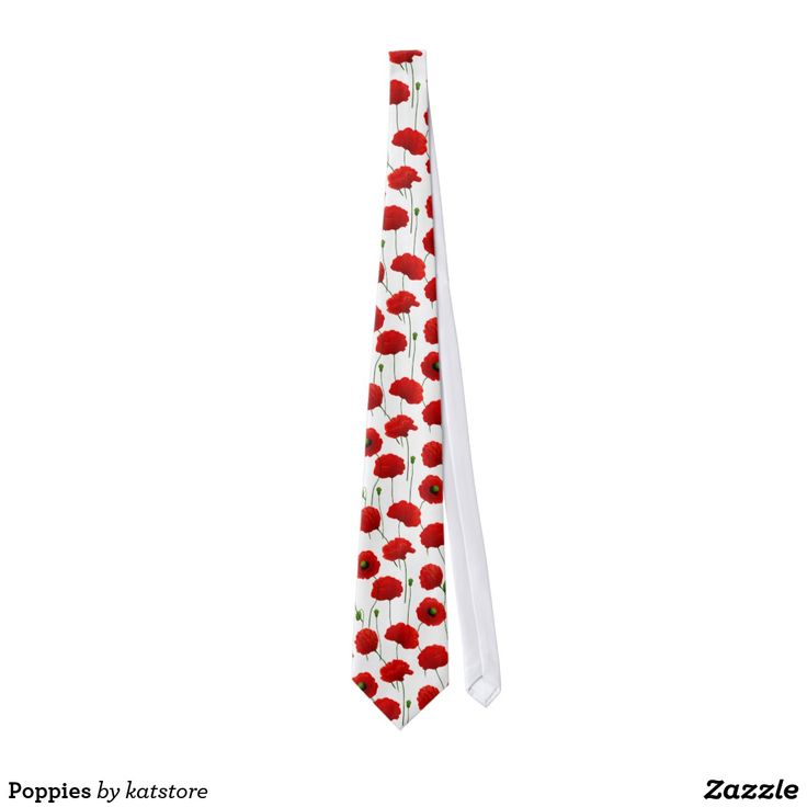 Poppies Neck Tie, design is available on various #zazzle products #tie #poppy #poppies #vector #floralpattern #flower #floral #katerinakart #print