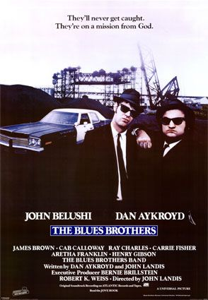 "The Blues Brothers is a 1980 American musical crime comedy film directed by John Landis. It stars John Belushi and Dan Aykroyd as ""Joliet"" Jake and Elwood Blues, characters developed from ""The Blues Brothers"" musical sketch on the NBC variety series Saturday Night Live. The film's screenplay was written by Aykroyd and Landis."