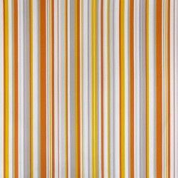 Diseño basado en líneas rectas estrechas amarillo, naranja, crema y gris en este papel pintado de la colección Rayas de Parati.