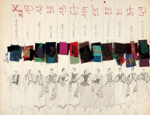Great record-keeping by Yves Saint Laurent for f/w 1976. Original sketches with swatches