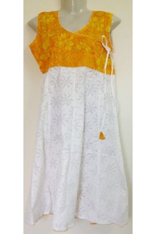 #CottonKurti - Yellow White Floral Printed