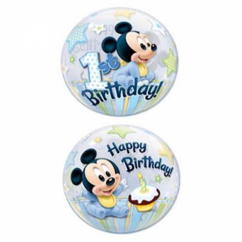 Bubble Ballon Mickey Mouse Eerste Verjaardag