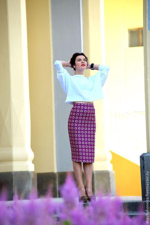 Купить Юбка с графичным принтом - фуксия, юбка-карандаш, облегающая юбка, юбка для офиса