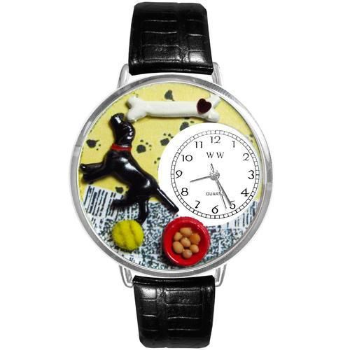 "Labrador Retriever Watch in Silver (Large). The Labrador Retriever is most popular breed of dog in the world. The Labrador Retriever themed Watch celebrates this widely-loved and talented breed. This unique Labrador Retriever watch features miniature images of a Labrador Retriever, a bone, a ball and a bowl of food.  PRODUCT DETAILS Watch case diameter is 1.5"".  Colorful watch face design with easy-to-read analog dial.   Italian leather band in several complimentary colors.  Gift box..."