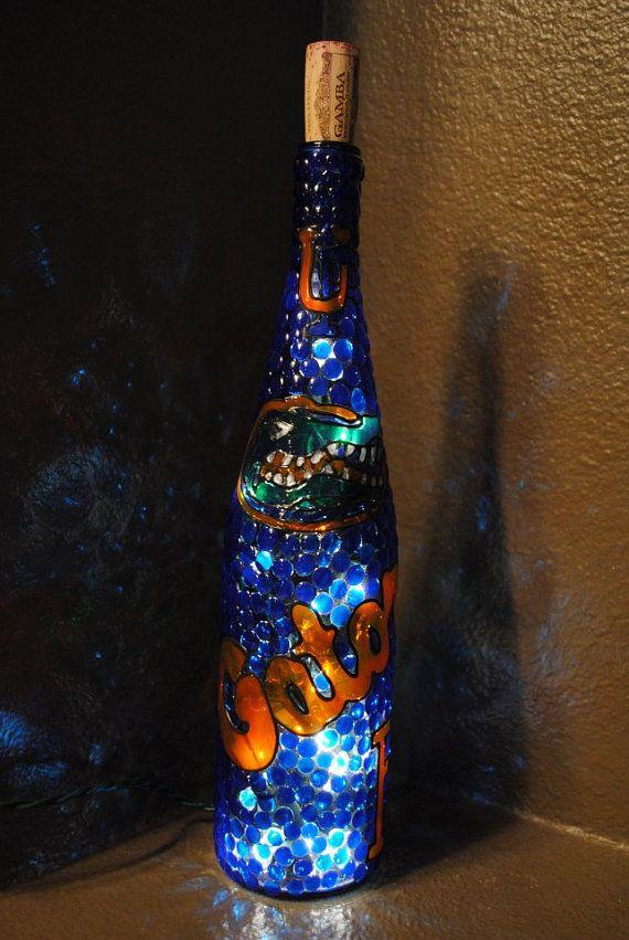 Florida gators decorative lighted wine bottle for Light up wine bottles