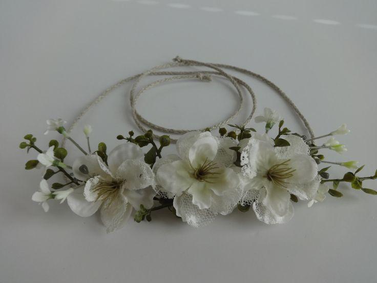 Tieback Flower Crown Headband, Newborn Photo Prop, Baby Tieback Flower Crown, Baby Flower Crown, Toddler Flower Crown, Girls Flower Crown by OliveAndEggplant on Etsy