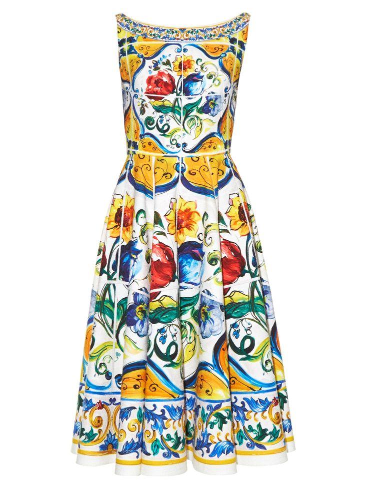 Majolica-print scoop-back stretch-cotton dress  | Dolce & Gabbana | MATCHESFASHION.COM US