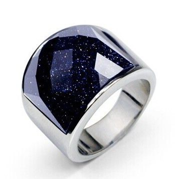 The starry sky  men's ring 316L Titanium Ring Black Onyx Ring will never fade domineering White silver Plated Christmas Gift