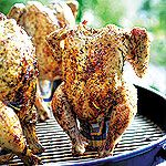 The chicken sits on the can of beer while it cooks into tender juiciness. You can also use de-alcoholized beer for a nonalcoholic version.