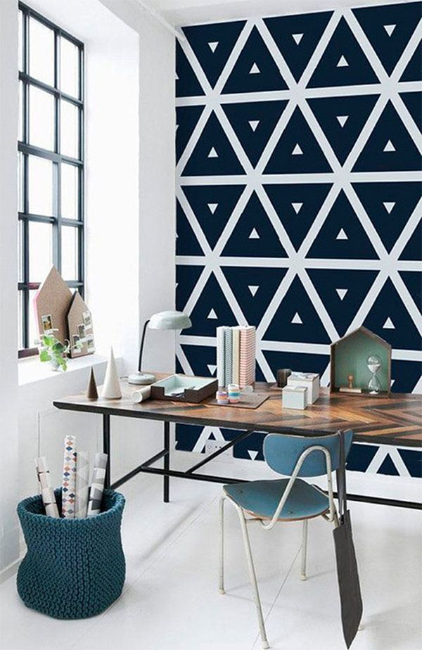 A bold graphic wall in this workspace
