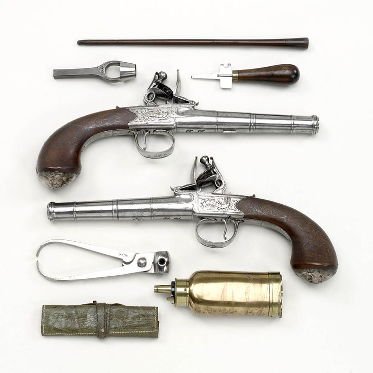 """1782-1798 British Flintlock pistols with accessories at the National Maritime Museum, London - From the curators' comments: """"Pair of cannon barrel flintlock pistols said to have been given to Captain Thomas Masterman Hardy 1769-1839 by Admiral Sir Thomas Troubridge 1758-1807."""""""