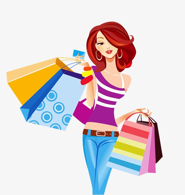 Girl carrying shopping bags element PNG and Clipart Shopping art Girls shopping Bag illustration