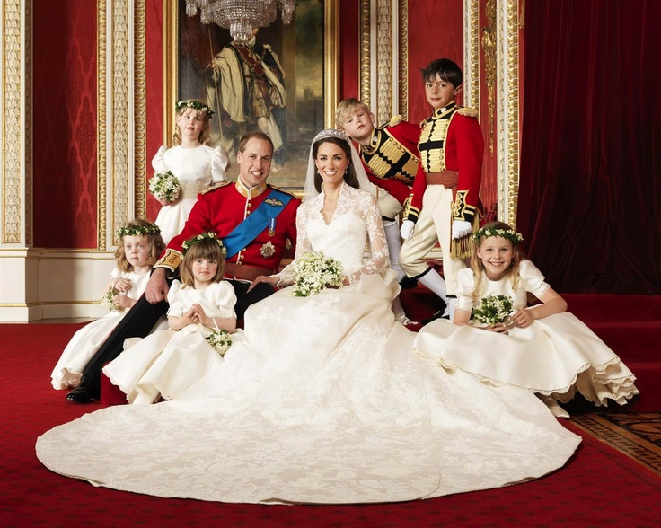 Britain's Prince William and his new wife Catherine, Duchess of Cambridge, pose with their page boys and bridesmaids following their wedding on April 29, 2011. Clockwise from bottom right, Margarita Armstrong-Jones, Eliza Lopes, Grace van Cutsem, Lady Louise Windsor, Tom Pettifer, and William Lowther-Pinkerton.