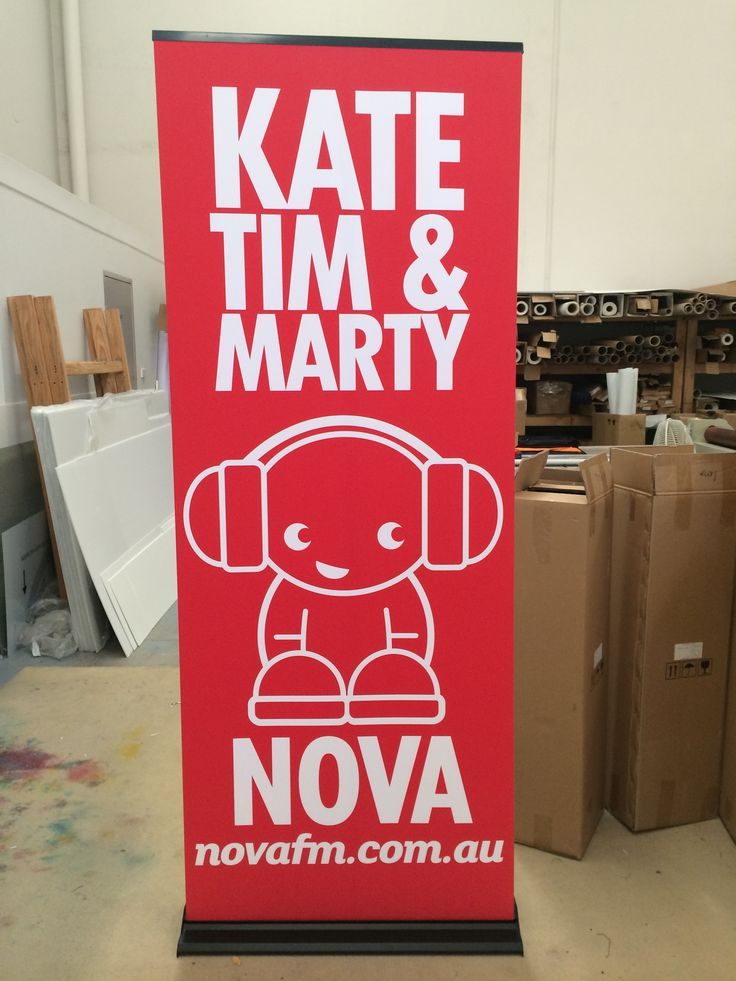850mm wide pull up banner for Nova 96.9 branded with Kate Tim & Marty.