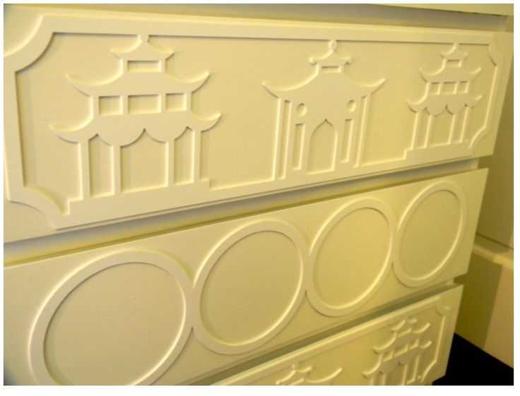 O'verlays are lightweight, decorative fretwork panels that come in several patterns and sizes. They are paintable and easily attach to furniture, mirrors, walls and glass. Compatible with popular IKEA pieces such as MALM, RAST, PAX, EXPEDIT, EFFEKTIV and LACK; they instantly upgrade plain pieces. Perfect for your next D.I.Y. project