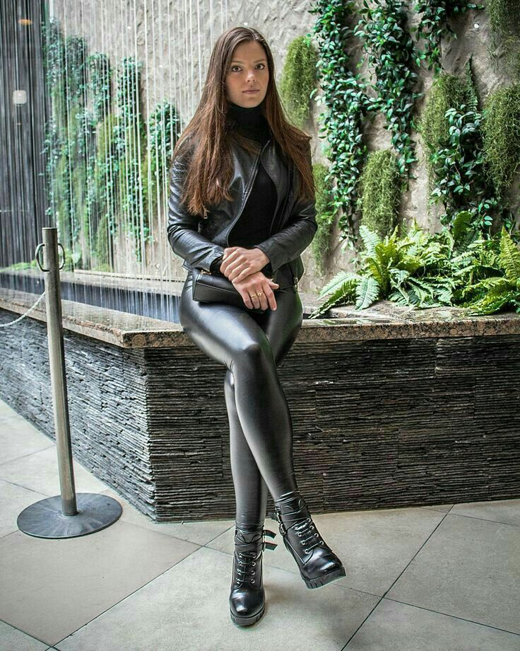 black leather leggings jacket ankle boots latex
