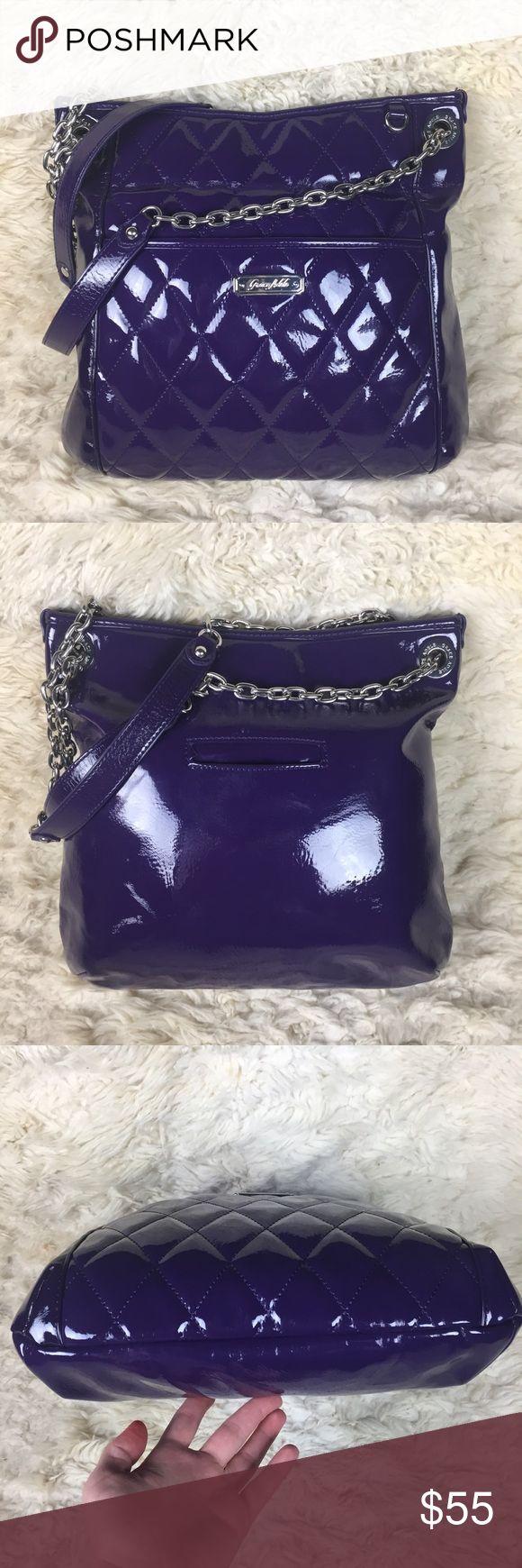 "Grace Adele Shoulder Bag Dark purple/plum color GRACE ADELE shoulder bag.  100% polyurethane. Lot of pockets inside, one on front/back too, silver chain on strap.  Length-13.5"" width-14"".  Excellent condition!! Grace Adele Bags Shoulder Bags"