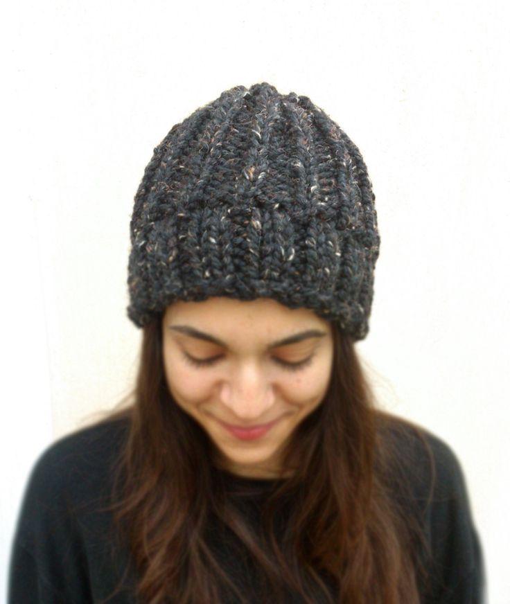 Unisex chunky knit hat, chunky grey knit hat, dark bulky knit hat, color fleck chunky hat, warm gray men's hat, chunky rib winter beanie by ManaKori on Etsy