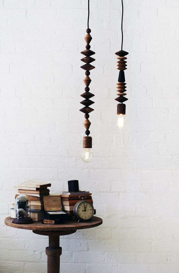handcrafted turned timber beaded pendant lamps by Marz Designs, photos by James Braund, via thedesignfiles.net