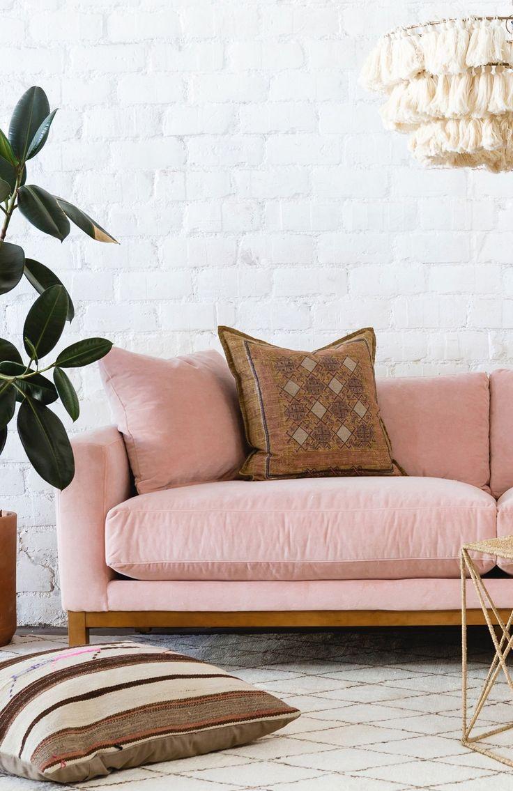 Maxwell Velvet Sofa Pink In 2020 Velvet Sofa Pink Velvet Sofa Contemporary Home Decor