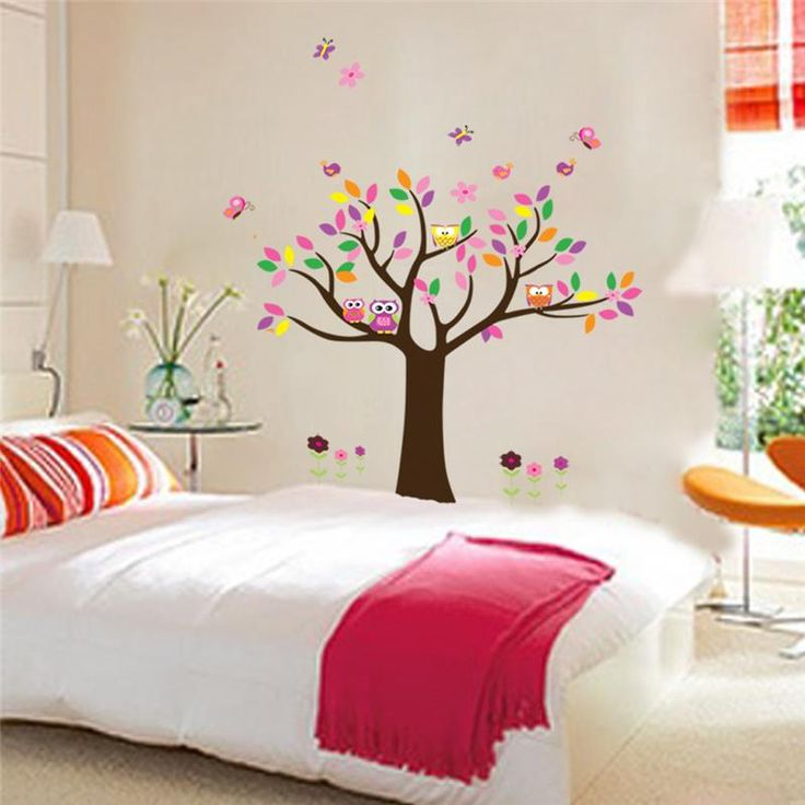 animals playing wall stickers for kids room decorations 5108. zoo adesivo de paredes tree home decals mural art 4.0 owls giraffe
